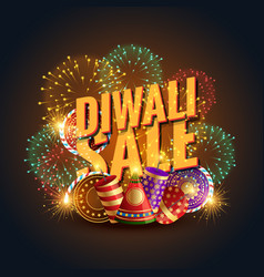 Diwali sale banner voucher with crackers and vector