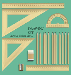 Drawing set ruler protractor pencils eraser vector