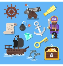 flat style set of icon pirate ship treasure chest vector image vector image