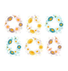 floral frames set flowers daisies elegant floral vector image