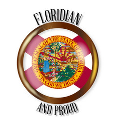 Florida proud flag button vector