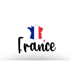 France country big text with flag inside map vector