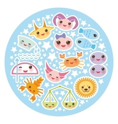 Funny Kawaii zodiac sign astrological stiker set vector image
