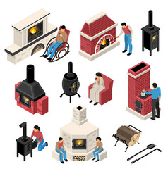 Furnaces fire places isometric set vector