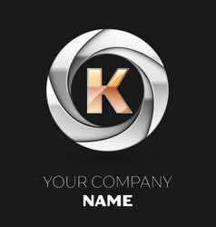 golden letter k logo symbol in the circle shape vector image