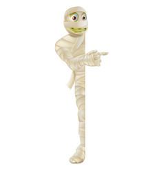 Halloween mummy peeping round banner vector