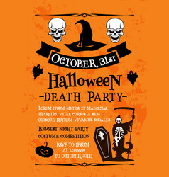 halloween party poster with skull and witch hat vector image