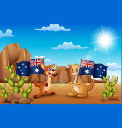 Happy australia day with kangaroos holding a flag vector