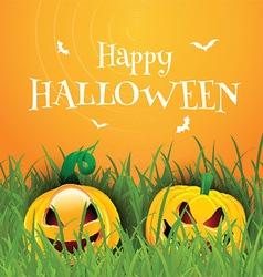 Happy Halloween background with pumpkins vector image