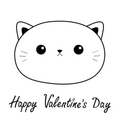 Happy valentines day cat sad head face linear vector