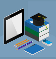 infographic online education concept in isometric vector image
