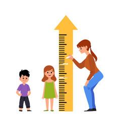 Kindergarten or preschool children measure height vector