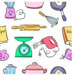 kitchen set pattern style collection vector image
