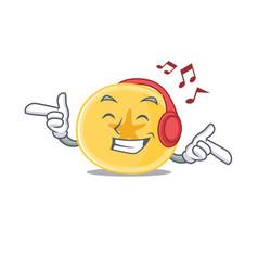 listening music banana chips mascot cartoon vector image