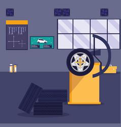 maintenance workshop scene icons vector image