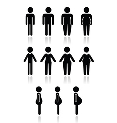 Man and women body type icons - slim fat obese vector