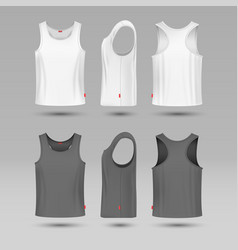 Mans white blank tank singlet male shirt without vector