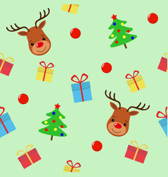 merry christmas with deer seamless pattern vector image