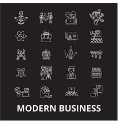 modern business editable line icons set on vector image