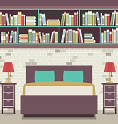 Modern Flat Design Twin Bedroom vector image
