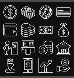 money icons set on black background line style vector image