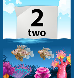 Number two and two fish under the sea vector