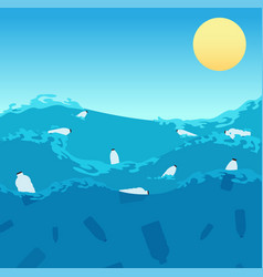 Ocean plastic pollution polluted sea water with vector