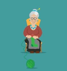 Old woman knitting socks knitting vector