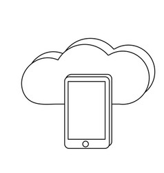 outline smartphone technology and data cloud vector image