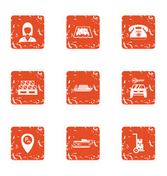 Parking delivery icons set grunge style vector