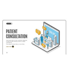 Patient online consultation service website vector