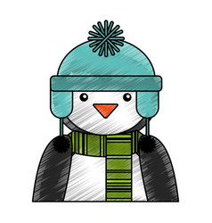 penguin with winter hat character vector image