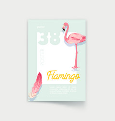 poster with pink flamingo and feather template vector image
