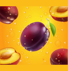 purple plum fruits in juice packaging design vector image