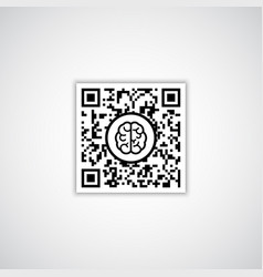 qr code with human brain icon vector image