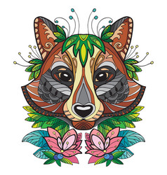racoon colorful vector image