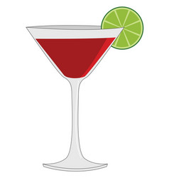red cocktail on white background vector image
