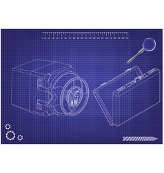 safe and case on a blue vector image