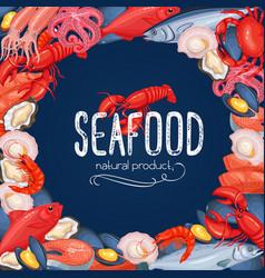 Seafood banner fish and shellfish vector
