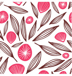 seamless floating buds and flowers pattern vector image