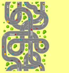 Seamless pattern top view of roads vector