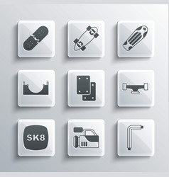 Set cinema camera tool allen keys skateboard vector