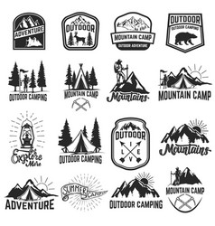 Set of camping emblems isolated on white vector