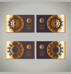 set of four golden floral ornamental cards with vector image