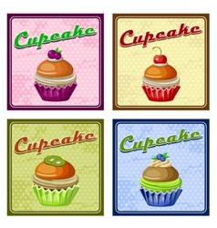 Set of four vintage posters cupcake vector image
