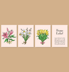 set of hand drawn easter gift cards vector image