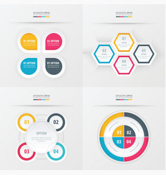 Set of presentation design yellow blue pink vector