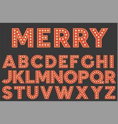 set of retro light bulb alphabet for christmas vector image