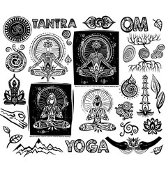 set yoga elements vector image