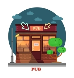 Side street view on night pub with aclohol vector